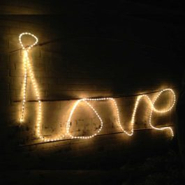 LOVE sign in string Lights