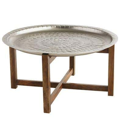 Moroccan Silver Round Tray Coffee Table