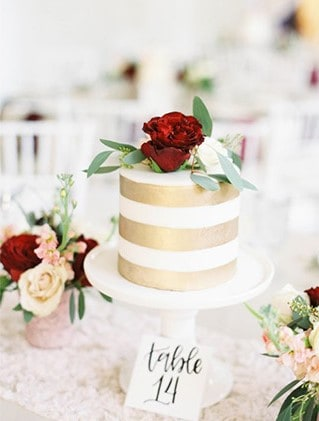 Burgundy And Blush - Touch of gold Cake