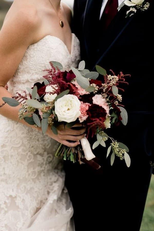 Burgundy Blush And Sage Green Wedding Bouquet