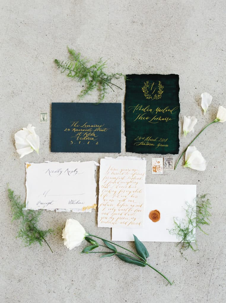 Green And Gold Wedding Invite